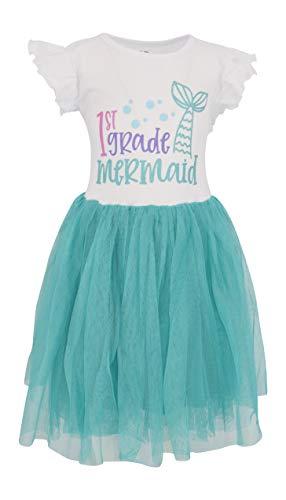 Unique Baby Girls First Grade Mermaid Back to School Ruffle Tutu Dress (7)