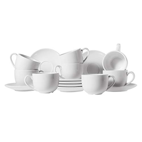 ComSaf Porcelain Espresso Cups and Saucers Set of 8, 3 oz Small Demitasse Cup with Handle, Tiny Coffee Mugs Set for Coffee/Tea, White