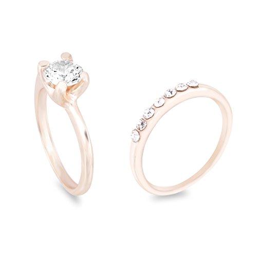 Fasherati doppio anello solitario in oro rosa per bambina