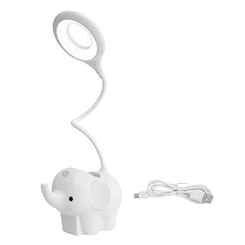 FLAMEER Elefante LED lámpara de Mesa de Escritorio luz de Noche de Cuidado de los Ojos, 3 Modos de iluminación, Ajuste de Brillo - Blanco
