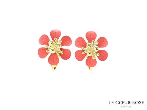 ゴールドの花芯の華やかなお花のネジバネ式イヤリング 明るいカラーのフラワーイエロー