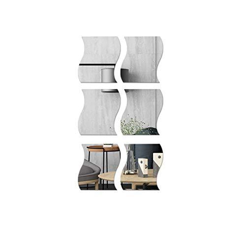 Espejo Ondulado Pegatinas de Pared, Espejo 3D Arte Diy Hogar Decorativo Acrílico Espejo Pared Hoja para El Hogar Sala de Estar Dormitorio Sofá TV Ajuste Decoración de la Pared Decoración Calcomanía