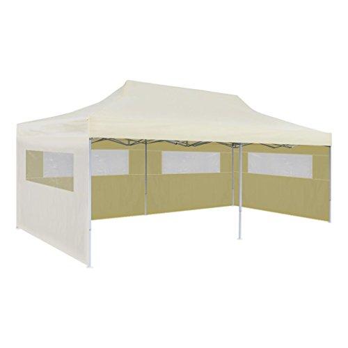 Nishore partytält hopfällbar paviljong fast tält festtält fällbart vattentätt med 4 genomskinliga PVC-fönster gräddvit 3 x 6 m