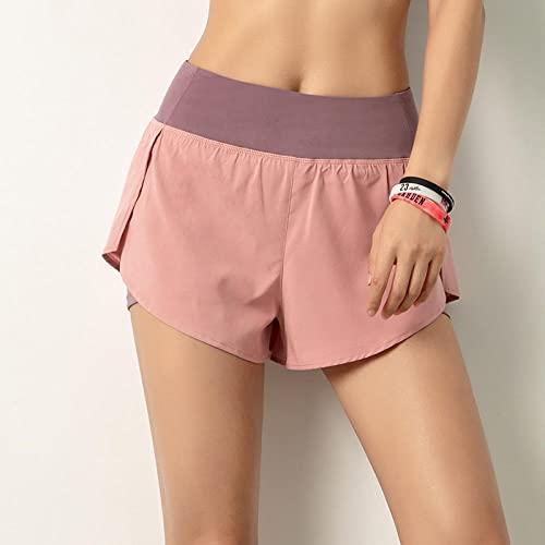 Pantalones de running para mujer Pantalones cortos deportivos de dos piezas falsos de verano para mujer, mallas de yoga para correr anti-vacías, pantalones cortos con bolsillo abdominal para gimnasio