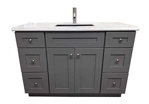 Grey Shaker Solid Wood Single Bathroom Vanity Base Cabinet 48