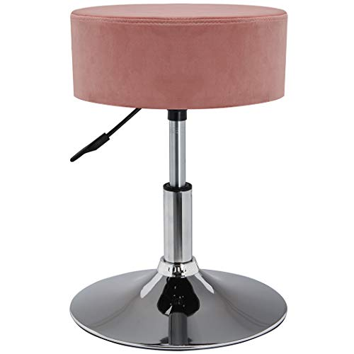 Drehhocker Sitzhocker Hocker RUND höhenverstellbar drehbar aus Kunstleder Farbauswahl Duhome 428S, Farbe:Pink, Material:Samt