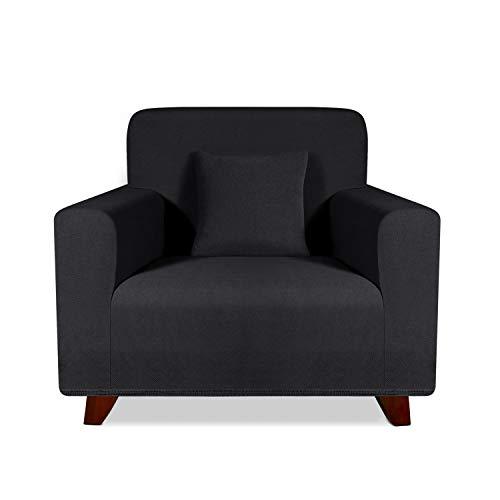 TAOCOCO Sofabezug, elastisch, für 1-Sitzer-Sofa, universell, Schwarz (81-120 cm)