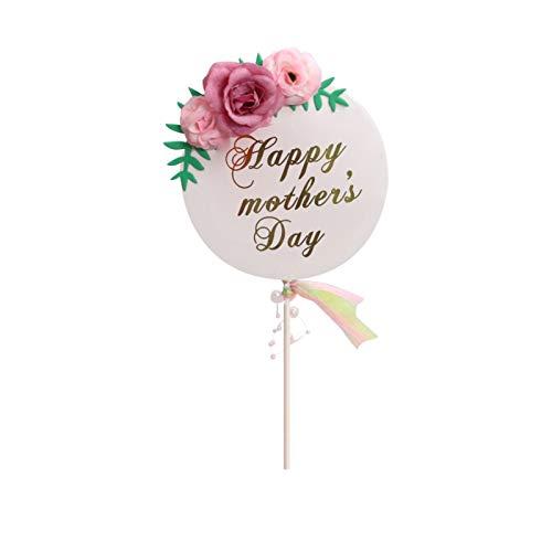 Fullnoon Decoración para tartas con flores pequeñas, decoración de tartas para el Día de la Madre para mujeres, mamás, abuelas, decoraciones de tartas para fiestas de cumpleaños, aniversarios y bodas