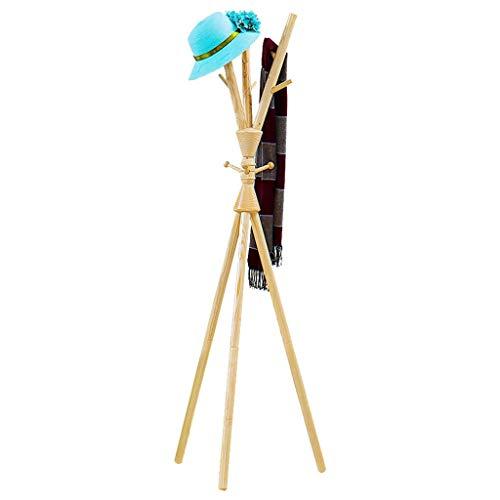 Garderobelijst voor slaapkamer, eenvoudige kledinghaken van massief hout voor de hal, eenvoudige ophanging voor woonkamer, afmetingen: 57 x 57 x 175 cm (kleur: bruin)