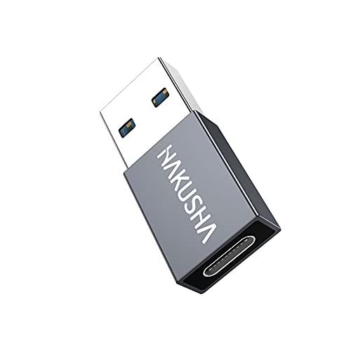 HAKUSHA Adaptador 3.0 USB A a USB C, [1 Pack] Adaptador USB A Macho a USB Hembra Tipo C para Samsung Galaxy S21 Ultra,S20,iPhone 12,11,Huawei P50,Xiaomi 11,Google Pixel 5,computadora portátil,Tableta