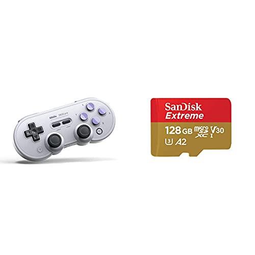 8Bitdo SN30 Pro (SN Edition) Bluetooth Game Pad & SanDisk Extreme microSDXC UHS-I Speicherkarte 128 GB + Adapter & Rescue Pro Deluxe (Für Smartphones, Actionkameras und Drohnen)