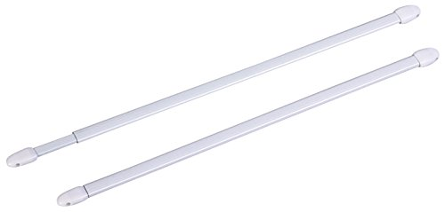 ATELIERS 28 Tringle Extensible Ovale Blanche - Longueur 50 à 80 cm - Vendu par 2