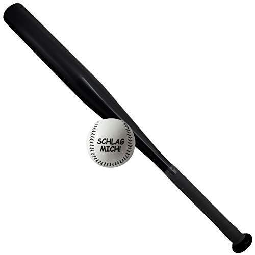 Sportset Sportgerät Baseballschläger inklusive Ball SCHWARZ Aluminium 65 cm lang