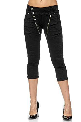 Elara Damen 3/4 Jeans Kurze Capri Slim Fit High Waist Hose Chunkyrayan C936/ Small2K-15 Black, Gr.- 42/ XL