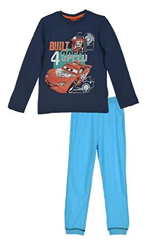 Disney Cars Pyjama Schlafanzug Set für Jungen und Mädchen (2084) - mit Langarm Oberteil und Schlafanzughose mit Lightning McQueen Motiv, Blau, Gr. 104