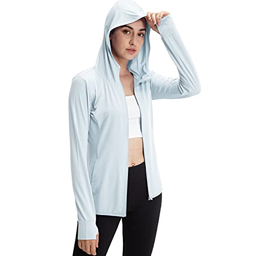 Casei Women's UPF 50+ Sun Protection Hoodie Jacket UV Long Sleeve Shirt Running Hiking Outdoor Shirts (LightBlue, M)