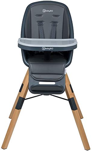 Babygo Carou 360º Hochstuhl, Drehbar, Sicherheitsgurt, Verstellbare, Abnehmbare Fußstütze mit Essenstablett, Grau