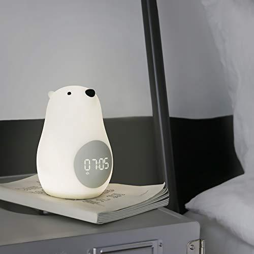 De enige goede kwaliteit Decoratie Witte Beer Vorm Dimmen Nachtlampje Multifunctionele LED Bureau Lamp Timed Wekker Wekker Nachtlampje Villa