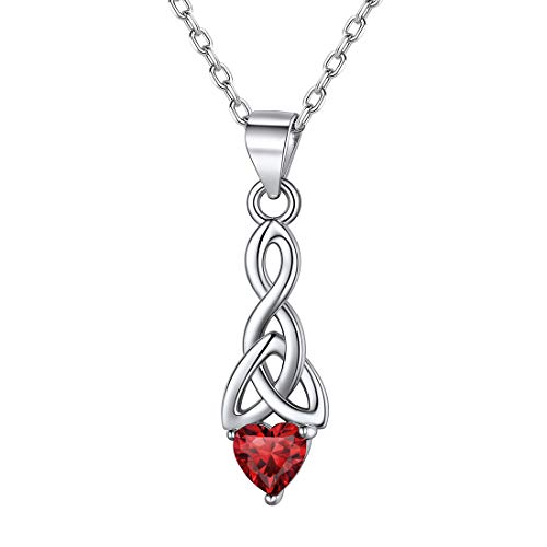 ChicSilver 925 Sterling Silver Celtic Knot Necklace for Women Red Crystal Garnet January Birthstone Heart Pendant Necklace Irish Celtic Jewelry