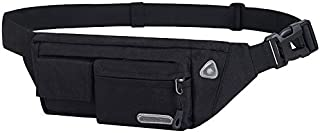 Waterproof Fanny Pack-Black Slim Waist Pack Bag for Women, Men with Adjustable Strap for Running Jogging Hiking Cycling