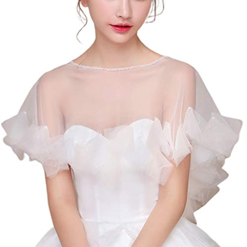 yanni Womens Wedding Cape Sheer Tulle Ruffles Trim Bridal Capelet Bolero 1920S Ladies Pullover Crew Neck Shrug Wrap for Dress Cover Up