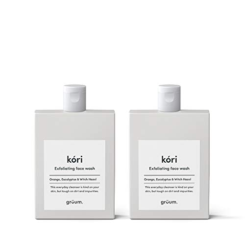 Grüum Kóri Gentle Exfoliating Face Wash Dup Pack, Orange, Eucalyptus & Witch Hazel Scent, Fights Blemishes & Blackheads 95% Natural 2 x 120ml Duo