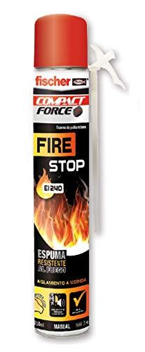 fischer - Espuma Firestop manual (bote 750 ml) espuma de poliuretano no inflamable, rellena, fija, sella y funciona como aislamiento térmico y acústico para puertas de emergencia, anti-incendi