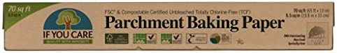 If You Care Parchment Baking Paper – 70 Sq Ft Roll - Unbleached, Chlorine Free, Greaseproof, Silicone Coated – Standard Size – Fits 13 Inch Pans