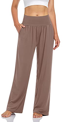 UEU Women's Summer High Waist Khaki Yoga Pants Casual Loose Fit Sweats Lounge Pjs Pajamas Exercise Pants with Pockets(LightCoffee,L)