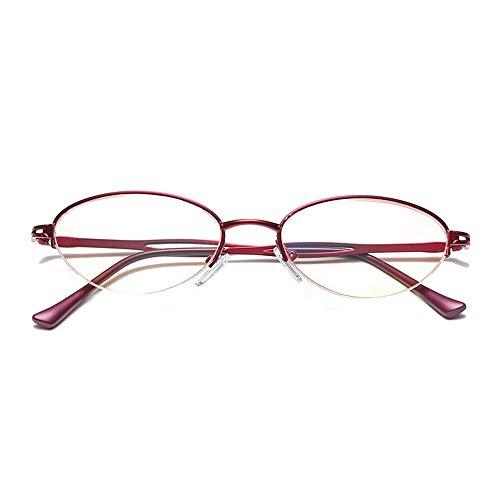 Reading Glasses Gafas de Lectura para Mujer con luz Anti-Azul, Lentes de Alta definición de Medio Marco, Cuidado de los Ojos con luz Anti-Azul, visión Clara