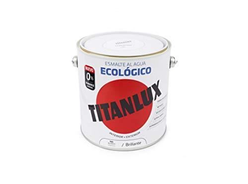Titanlux 00T056625 Smalto ad Acqua Ecologico Lucido, Bianco, 2.5 L