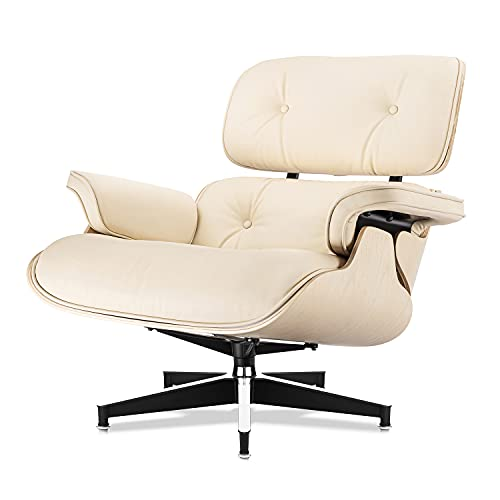 Sillones y otomanas, sillas de Mediados de Siglo, imitación Premium del 98% de los Muebles clásicos - Cuero ecológico de Grano Superior, 7 Capas de Madera de ingeniería de Grano Cruzado,Fresno Blanco