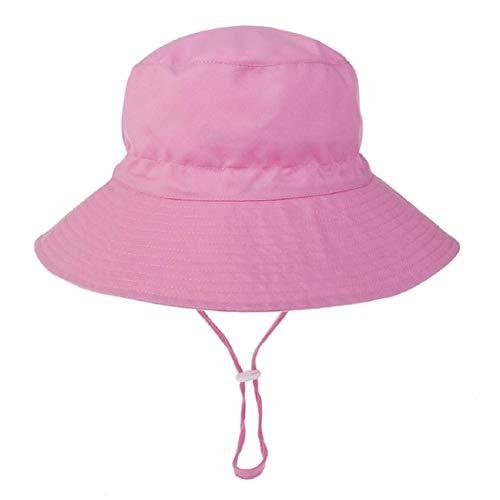 Hawiton Baby Sonnenhut UV Schutz Kleinkind Fisherhut Sommermütze mit Kinnriemen Baumwolle Nackenschutz Hut (Pink, S)