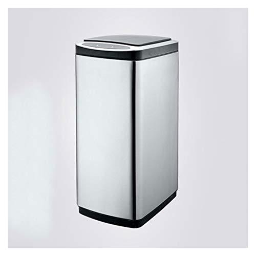 Cubo de Basura Bote de basura de cocina de gran capacidad con tapa de acero inoxidable Sensor Smart Sensor PUEDE PUEDE DE LA PUEBLA AUTOMÁTICA DE LA PUEBLA AUTOMÁTICA (Rectanglular, 20L / 30L) Papeler