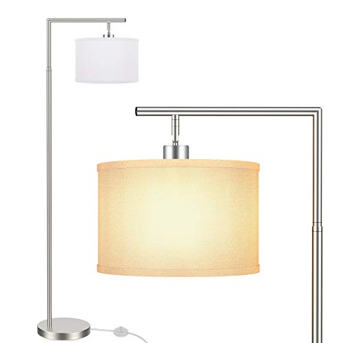 BesLowe Floor Lamp for Living Room Montage Modern Standing Lamp with Hanging White Fabric Lampshade Tall Pole Overhangs Classic Reading Light with Foot Switch for Bedroom Hotel Guest Room Satin Nickel