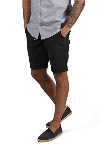Blend Lias Herren Leinenshorts Kurze Leinenhose Bermuda Regular Fit, Größe:L, Farbe:Black (70155)
