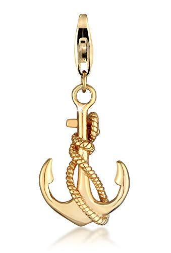 Gold anchor charm pendant in 925 sterling silver gold-plated for women and girls, suitable for all standard charm carriers and charm bracelets, 0403511720