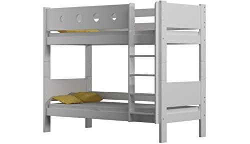 Risal LOONA Hochwertige Etagenbett Hochbett Massivholz mit Lattenroste mit Rausfallschutz Kinderbett Stockbett 80x180 (Weiß)