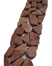 Breuksteen mozaïek rand 30x5 cm natuursteen rood Rosso Verona tegels B486