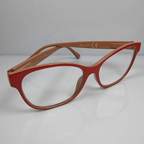 Kost Moderne Lesebrille +2,0 große Sichtfläche rot/beige für SIE & IHN Flexbügel Etui