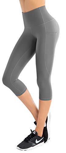 LifeSky - Pantalones de yoga para mujer, cintura alta, control de barriga con bolsillos, 4 vías de estiramiento -  -  Large