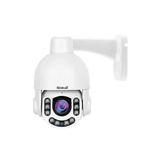 Telecamera di sicurezza HD 5MP PTZ POE, telecamera per esterni con zoom ottico 4X, rilevamento del movimento per visione notturna IR, con slot per scheda SD Audio a 2 vie all'interno di ONVIF 2.4