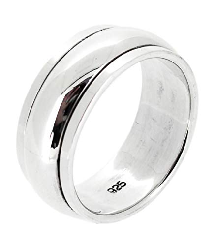 TreasureBay MENS 8MM Wide Plain 925 Sterling Silver Spinner/Spinning/Spin Band Ring Meditation Stress Relief Ring - Available in Sizes: R - Z (R)