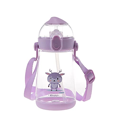 Yidieman Botella de Agua para Deportes de Gimnasio,Botella de Agua de Dibujos Animados Tritan con asa de Paja-Purple_550ML,Sin BPA tóxico con Tapa con bisagras