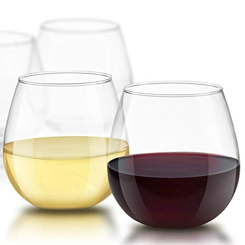Stemless Wine Glasses for Red or White Wine (Set of 4)-15-Ounces