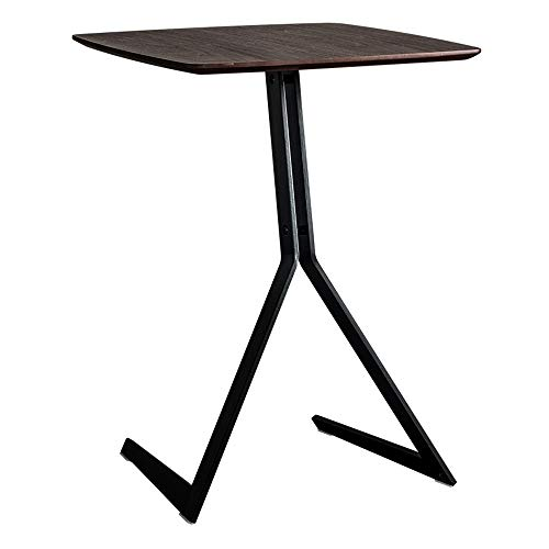 QINQIGBJ End Table Iron Sofa Side Table Small Coffee Table,Side End Coffee Table Sofa Snack Table Black Metal Frame Modern Industrial Wood Look Accent Table