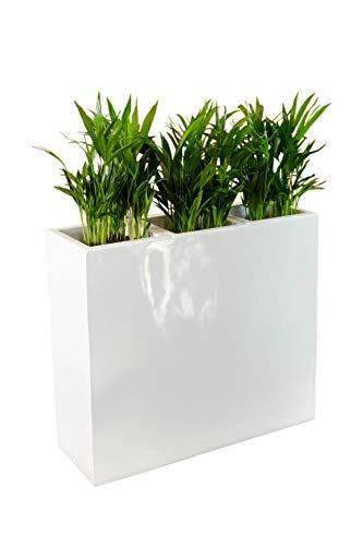 VIVANNO Pflanzkübel Raumteiler Trennelement Sichtschutz Fiberglas weiß Elemento - 75x30x88 cm