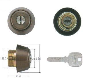 MIWA(美和ロック) JNシリンダー BHタイプ 鍵 交換 取替え MCY-178 MIWA KABA BH/LD/DZセラミックブロンズ色(CB)33〜41mm