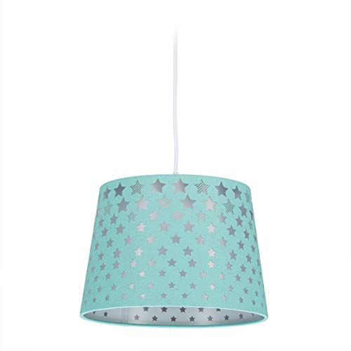 Relaxdays Lámpara para habitación Infantil (27,5 cm de diámetro), diseño de Estrellas, Color, verde menta
