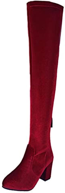 T -JULY ny kvinnor Over The Knee stövlar skor sammet Winter Warm High klackar skor Damerna springat Toe Tjock klackar Boot